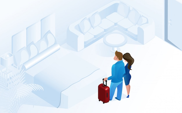 Couple woman man arriving with luggage in room