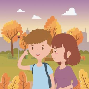 Couple of woman and man cartoon