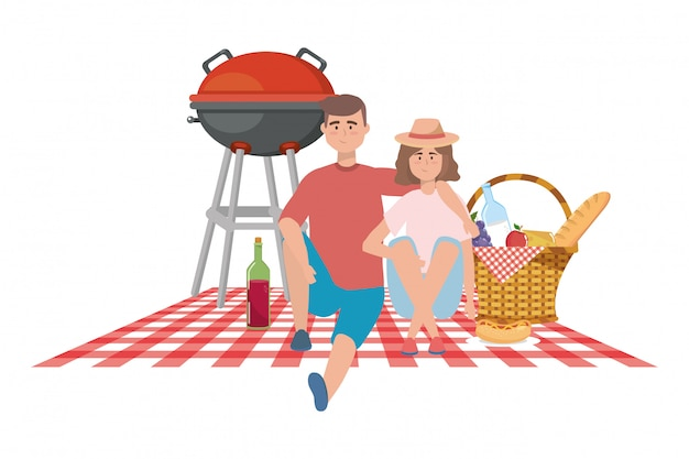 Couple of woman and man having picnic