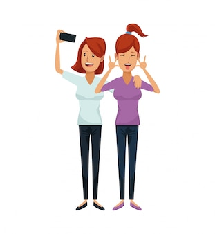 Couple of women redhead and one taking a selfie
