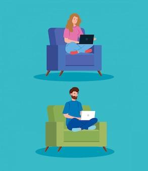 Пара работает в дистанционном управлении, сидя в диване