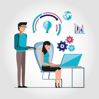 Couple working and set icons business