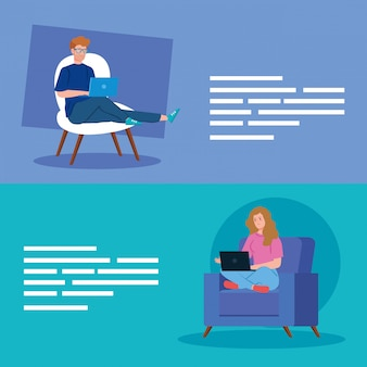 Couple working in telecommuting avatar characters