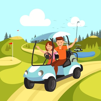 Couple of young man and woman driving golf cart.