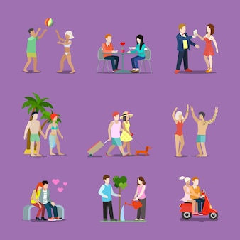 Couple of young man and woman life style set. man woman love story fun interesting holidays illustration. travelling tourism vacation dinner dancing love celebration collection on purple background.