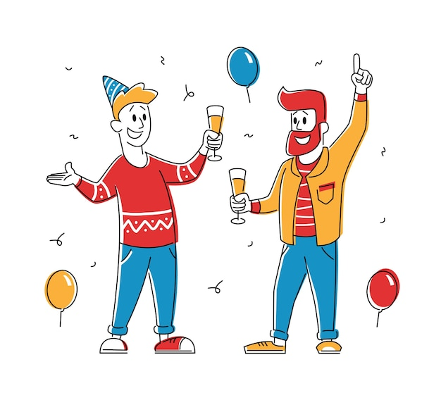 Couple of young men holding glasses with champagne beverage celebrate holiday
