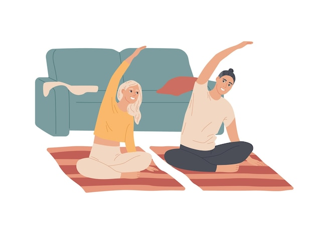 Couple of young people do exercises at home.