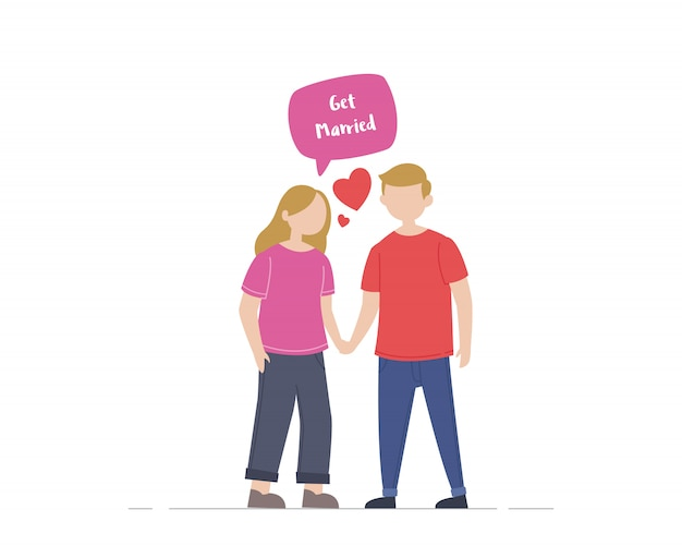 Couple of young people illustration