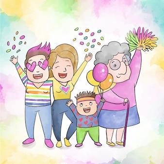 자부심의 날을 축하하는 커플과 가족