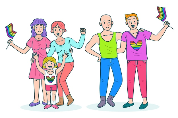 プライドの日を祝うカップルや家族