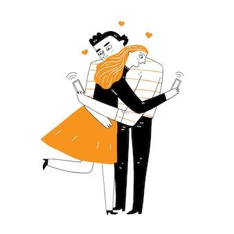 カップルは抱き締めることで愛情を示しており、どちらも個人的に携帯電話を使用しています。ベクトルイラスト