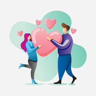해피 발렌타인 데이 일러스트 디자인을 축하하는 커플