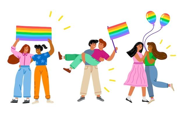 Couples celebrating pride day