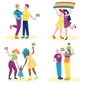 Coppie che celebrano il giorno dell'orgoglio