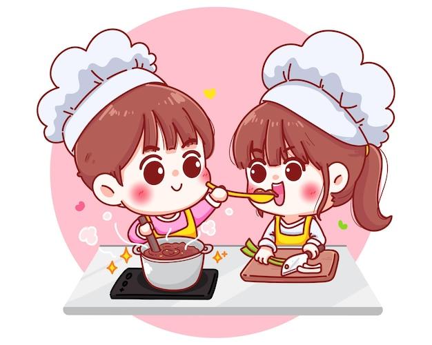 Пары готовят на кухне мультипликационный персонаж