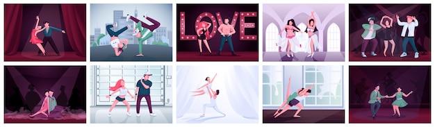 Пары танцуют плоский цветовой набор. участники конкурса балета, твист, латиноамериканского танца. танго, румба, контемп, брейк-данс мужские и женские исполнители 2d персонажи мультфильмов