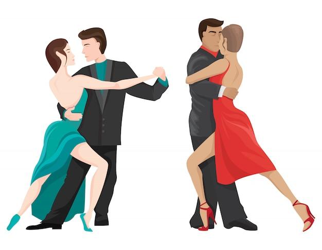 Пары танцуют танго. мужские и женские персонажи в мультяшном стиле.