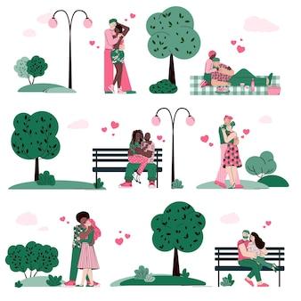 分離された夏の公園の漫画のベクトル図でデートとハグのカップル
