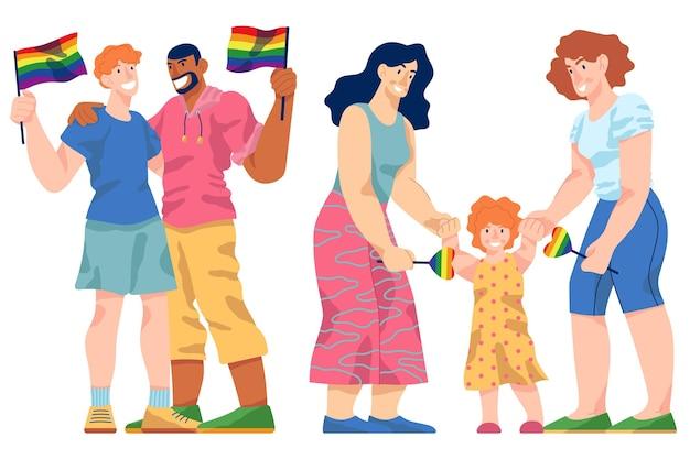 Coppie e famiglie che celebrano il design del giorno dell'orgoglio