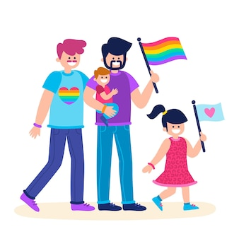 Coppie e famiglie festeggiano insieme la giornata dell'orgoglio