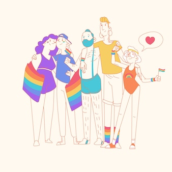 Couples and families celebrating pride day