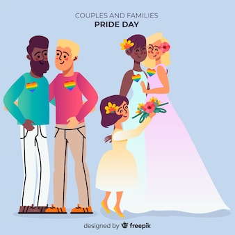 Couples and families of the pride day