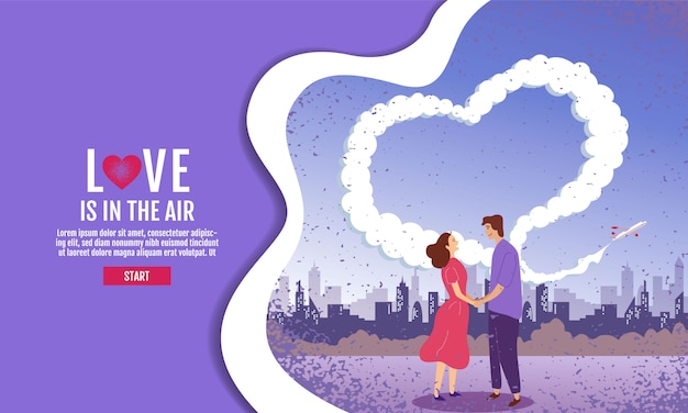 Couples hold hands in the garden. the sky is heart-shaped, valentine's day, love