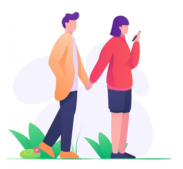 Couples holding hand in park flat illustration