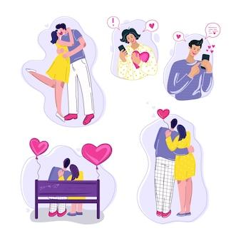 Влюбленные пары. плоские иллюстрации людей. люблю отношения, день святого валентина.