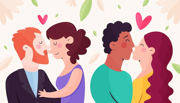 Couples kissing illustration