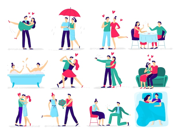 Couples in love. love couple on date, lover makes proposal to sweetheart in restaurant. hugs and kisses  illustration set