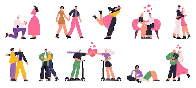 Couples in love, romantic date, marriage proposal scenes. happy man and woman dating, hugging and walking vector flat illustration set. romantic couples. date and love couple, romantic man and woman