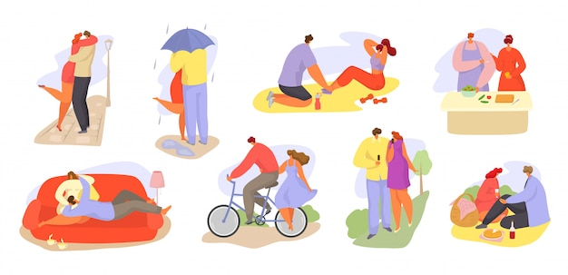 Couples of loving people together daily activities illustration isolated set.