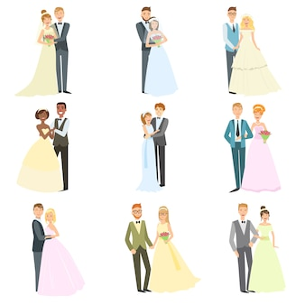 結婚式の日に一緒にポーズのカップル