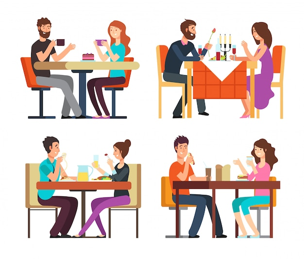 Couples table. man, woman having coffee and dinner. conversation between guys in restaurant.  cartoon characters in romantic date