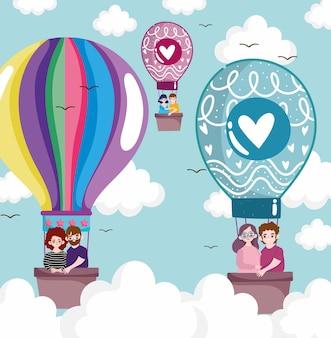 Пары путешествуют на воздушном шаре