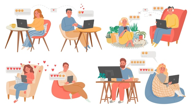 Couples virtual chat. people with computer or phone, online date from home. celebrate valentines day in quarantine. love couple vector set. communication chat online smile and messaging illustration