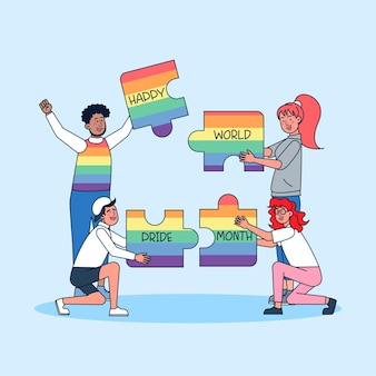 자신의 성별을 선택하는 커플이 함께 모여 자신의 강점을 보여주고 성별과 라이프스타일에 대한 선택의 자유를 축하합니다.