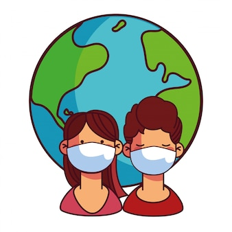 Couples with masks taking care of the world