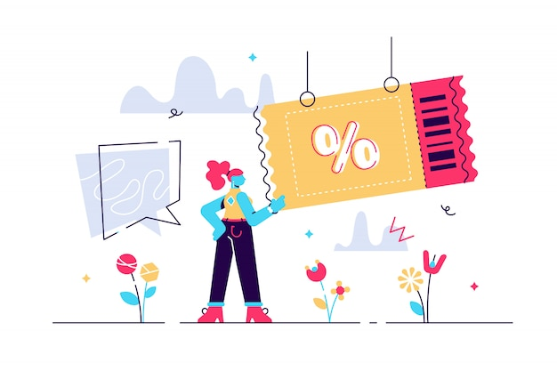 Coupon illustration. flat tiny shop discount voucher persons concept. symbolic chasing after financial cheap and profitable purchase. promotion and advertisement method for customer engagement.