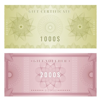 Coupon template. certificate design with guilloche engraving watermarks shapes and borders. illustration voucher and certificate award, banknote with guilloche