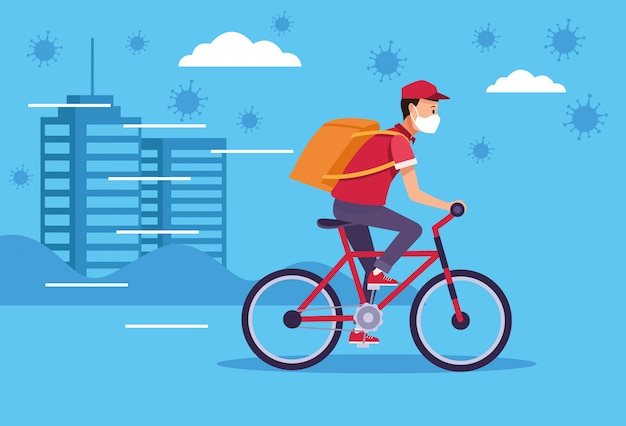 Courier in bicycle delivery service