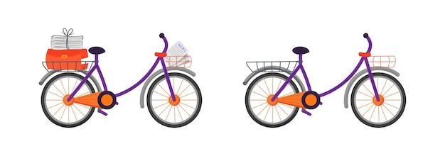 Курьерский велосипед плоский цветной объект набор. средство доставки пакета. велосипед с газетами. почтовая доставка транспорт изолированные мультфильм