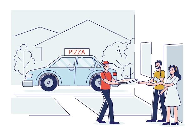 택배 소년은 클라이언트에게 신선한 피자를 제공합니다. 빠른 피자 배달 서비스 개념