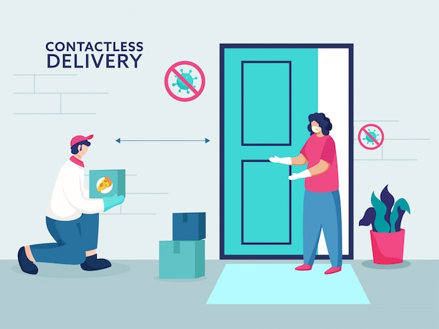 Courier boy delivers pizza parcel near the contactless customer at door to prevent from coronavirus.