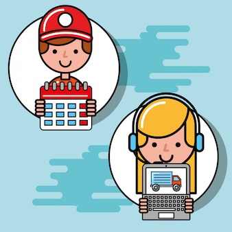 Courier boy and operator girl calendar and laptop logistic and delivery