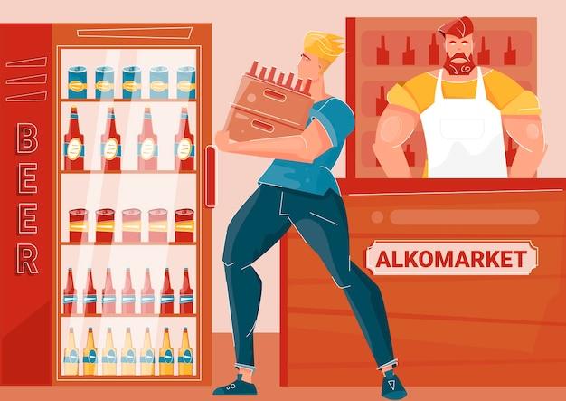 Corriere che porta bottiglie di birra nel mercato degli alcolici flat