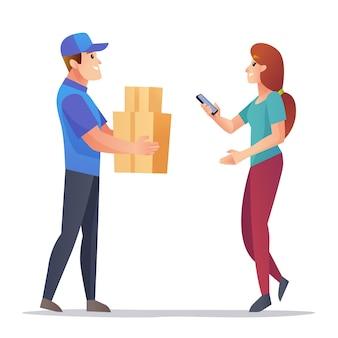 宅配便は顧客のイラストにパッケージをもたらします
