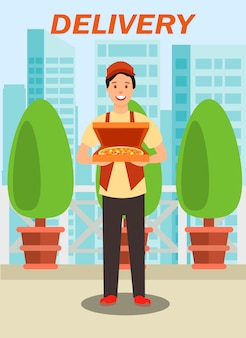 Courier carrying pizza box vector illustration
