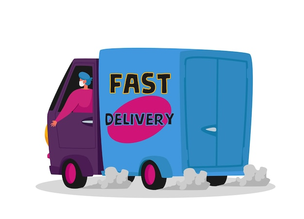 자동차로 고객에게 식품을 배달하는 택배 캐릭터. 코로나 바이러스 전염병 기간 동안 특급 배송 서비스